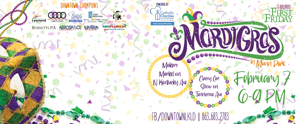 February 7th First Friday: Mardi Gras in Munn Park